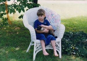 Anna Harmon Cain and cat