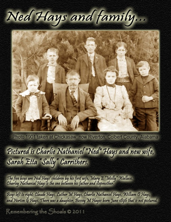 Charles Nathaniel Ned Hays Family 1901 in Chickasaw Alabama