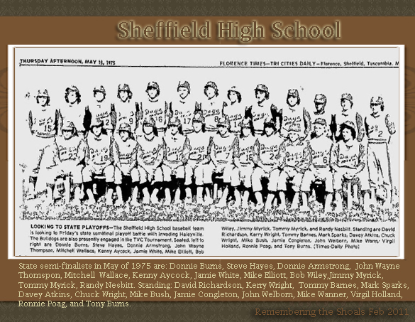 Sheffield High School Baseball Team 1975