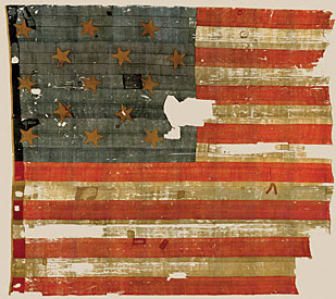 Actual flag that inspired the writing of the Star Spangled Banner