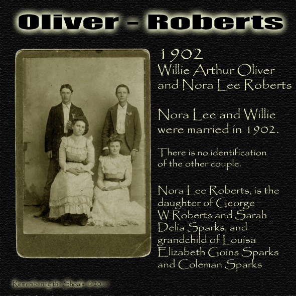 "Nora Lee Roberts and William Arthur ""Willie"" Oliver 1902"