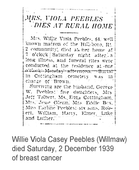 Willie Viola Casey Peebles' obituary
