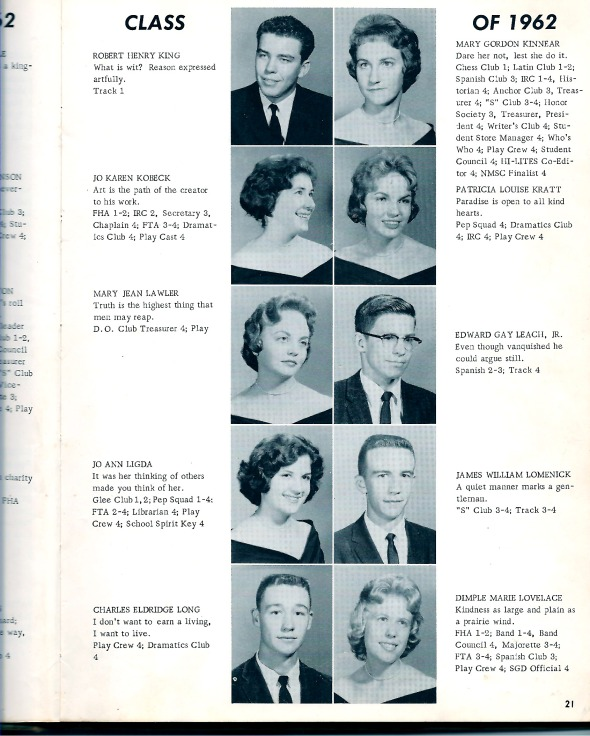 Robert Henry King in the Class of 1962 SHS