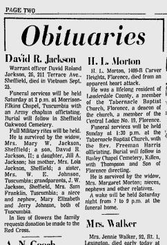 David Rolland Jackson Obit, Sheffield, Colbert County, Alabama