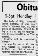Howard Brown Handley Obit KIA in Vietnam