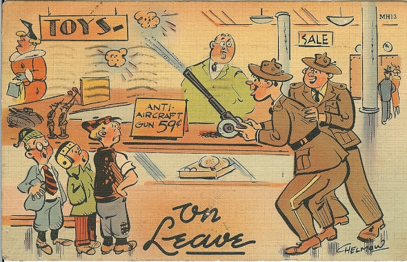 On leave Postcard Daddy mailed home during WWII dated 20 Feb 1942