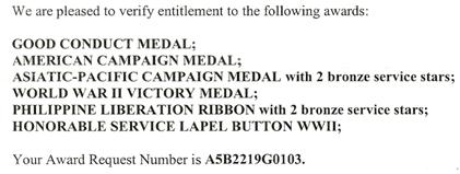 List of Entitlements during WWII for James A Murray