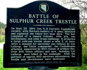 Photo of the historical marker for the battle at Sulphur Creek Trestle Bridge