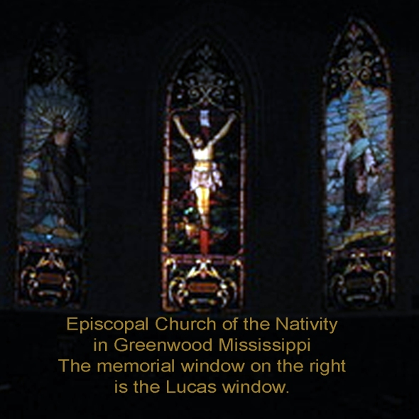 A photo of the three memorial windows behind the altar at the Episcopal Church of the Nativity in Greenwood, Mississippi