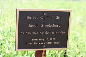 Photo of marker for Jacob Stooksbury's burial place in Anderson County, Tennessee