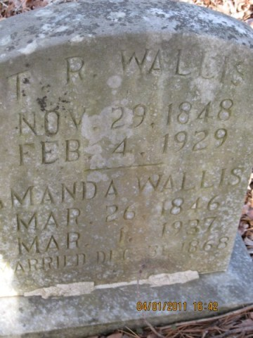 Photo of gravemarker for Tilman R Wallis and wife Amanda Bartlett Wallis