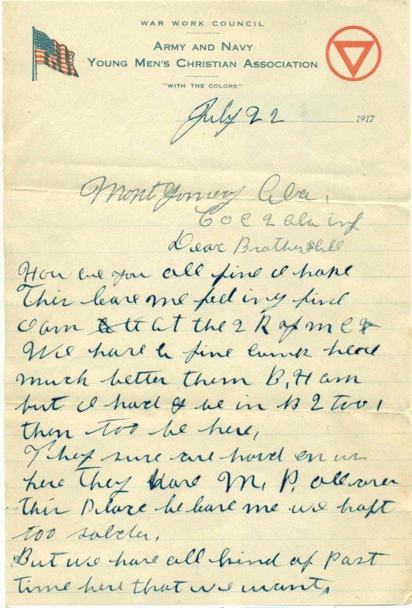 22 July 1917 Letter 1