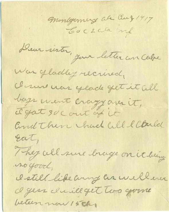 3 August 1917 letter home from Amos Brenneman, page 1