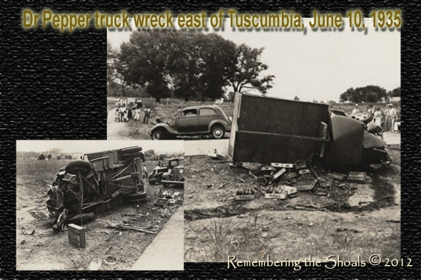 Photo of a DrPepper truck that was involved in a wreck in Tuscumbia in 1935