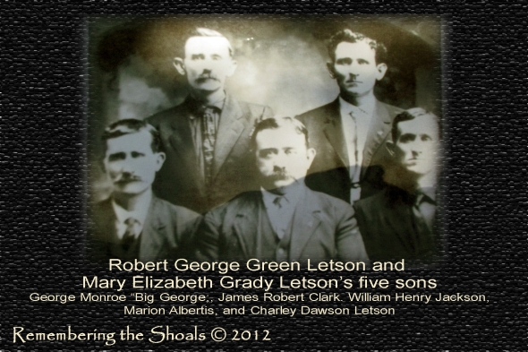 Photo of the five sons of Robert George Green Letson and Mary Elizabeth Grady Letson