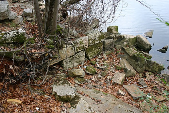 Pier remains of what was once Tuscumbia Landing