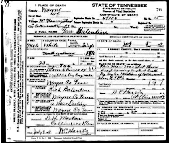 Photo of death certificate for Thomas Grant Balentine