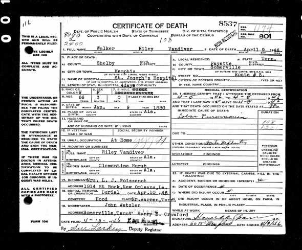 Miss Walker Riley Vandiver's death record.