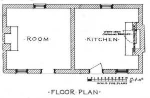 Drawing of the kitchen of Cunningham Plantation.
