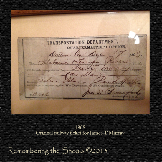 Photo of an 1863 railway ticket issued to James T Murray