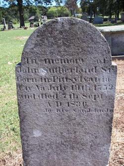 Gravemarker of John Southerland, Revolutionary War soldier at Oakwood Cemetery in Tuscumbia, Alabama.