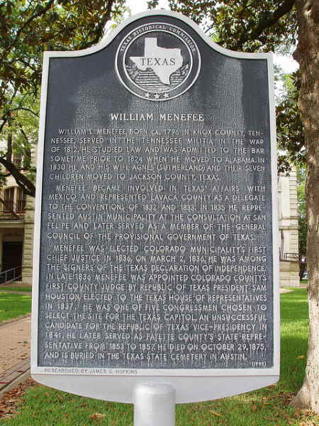 Photo of the historical marker honoring Willliam Menefee