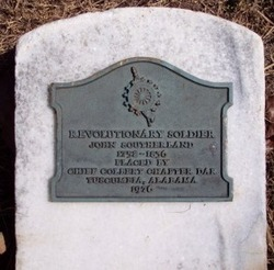 Photo of John Southerland's marker on his grave at Oakwood Cemetery in Tuscumbia, Alabama.