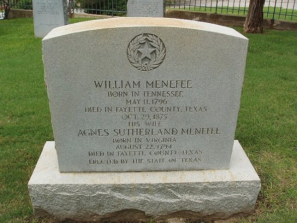 Photo of William Menefee's gravemarker