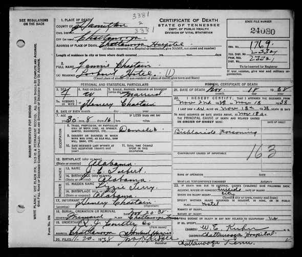 Photo of the death certificate for Fannie Tolbert Chastain