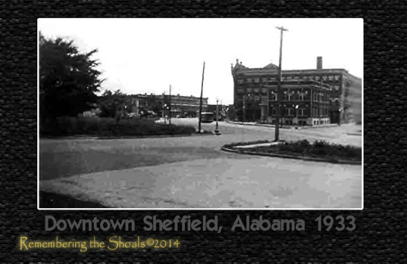 Photo of downtown Sheffield Alabama in 1933