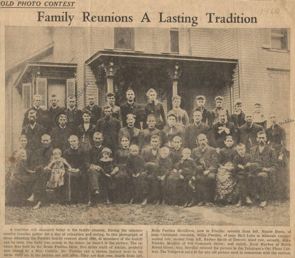 Peebles family reunion newspaper clipping