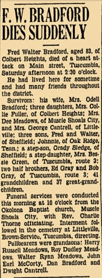 Obituary for Fred Walter Bradford