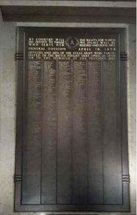 San Jacinto Memorial plague