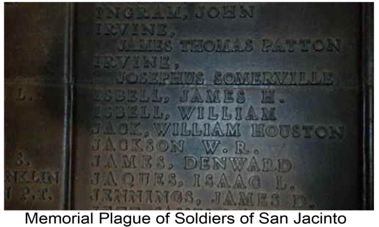 William and James H Isbell names on Soldier of San Jacinto plague