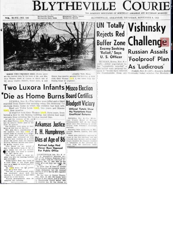 Blytheville Courier Isbell home fire 1951